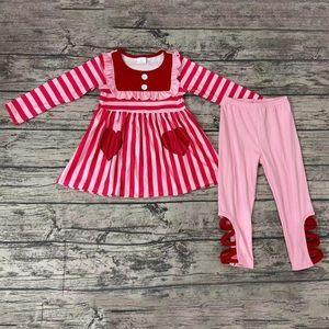Saint valentines cute pink heart pants set